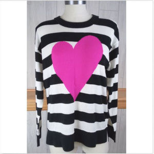Kate Spade Women's M Pink Heart Black White Stripe
